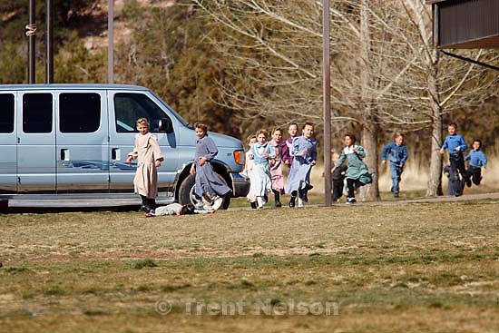 Kids at recess at formerly Phelps Elementary School, now FLDS private school based on former Alta Academy (according to Isaac Wyler), Hildale. polygamy<br />