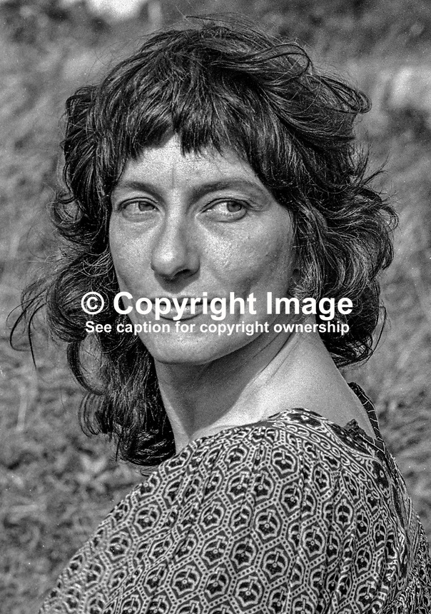 Jenny James, leader of the Screamers, also known as Atlantis Foundation, Atlantis Commune, Atlantis Ecological Community, or Atlantis Primal Therapy Commune. The commune's headquarters was a three-storied house on the outskirts of  Burtonport, Co Donegal, Rep of Ireland. 19790121JJ.<br /> <br /> Copyright Image from Victor Patterson,<br /> 54 Dorchester Park, <br /> Belfast, UK, BT9 6RJ<br /> <br /> t1: +44 28 9066 1296 (from Rep of Ireland 048 9066 1296)<br /> t2: +44 28 9002 2446 (from Rep of Ireland 048 9002 2446)<br /> <br /> m: +44 7802 353836<br /> <br /> e: victorpatterson@me.com<br /> www.victorpatterson.com<br /> <br /> Please see my Terms and Conditions of Use at www.victorpatterson.com. It is IMPORTANT that you familiarise yourself with them.<br /> <br /> Images used on the Internet must be visibly watermarked i.e. &copy; Victor Patterson<br /> within the body of the image and copyright metadata must not be deleted. Images <br /> used on the Internet have a size restriction of 4kbs and will be chargeable at current<br />  NUJ rates unless agreed otherwise.<br /> <br /> This image is only available for the use of the download recipient i.e. television station, newspaper, magazine, book publisher, etc, and must not be passed on to any third <br /> party. It is also downloaded on condition that each and every usage is notified within 7 days to victorpatterson@me.com<br /> <br /> The right of Victor Patterson to be identified as the author is asserted in accordance with The Copyright Designs And Patents Act (1988). All moral rights are asserted.