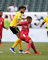 PHILADELPHIA, PA - JUNE 30: Michael Hector #3 and Gabriel Torres #9 battle for the ball during a game between Panama and Jamaica at Lincoln Financial Field on June 30, 2019 in Philadelphia, Pennsylvania.
