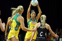12.10.2016 Australia's Kim Ravaillion in action during the Silver Ferns v Australia netball test match played at the Silver Dome in Launceston in Australia.. Mandatory Photo Credit ©Michael Bradley.