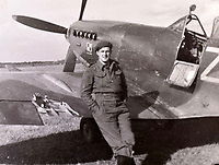 BNPS.co.uk (01202 558833)<br />Pic: C&T/BNPS<br /><br />Flt Lt Antoni Lipkowski in front of his damaged Spitfire.<br /> <br /> A fascinating photo album has sold for £1200 at auction - the previously unseen photographs chart the wartime career of Polish aristocrat Antoni Lipkowski -revealing how the emigree from Nazi Europe became a fighter pilot in the RAF.<br /> <br /> Flight Lieutenant Antoni Lipkowski escaped Poland when Germany invaded in 1939 and was desperate to join in the fight against the Nazis.<br /> <br /> Previously a cavalry officer, he retrained as a pilot and joined one of the Polish squadrons based in Britain which did such sterling work defending these skies in World War Two.<br /> <br /> Flt Lt Lipkowski, of 316 Polish Fighter Squadron, was very tall for a pilot and turned heads with his 'handsome' appearance.<br /> <br /> There are images of him in the cockpit of his Spitfire and posing nonchalantly in front of it with a cigarette in his hand.