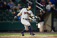 Scranton/Wilkes-Barre RailRiders left fielder Mark Payton (22) hits a ground rule double during the second game of a doubleheader against the Rochester Red Wings on August 23, 2017 at Frontier Field in Rochester, New York.  Rochester defeated Scranton 1-0.  (Mike Janes/Four Seam Images)