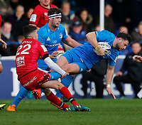 12th January 2020; RDS Arena, Dublin, Leinster, Ireland; Heineken Champions Cup Rugby, Leinster versus Lyon Olympique Universitaire; Robbie Henshaw of Leinster is tackled by Joris Moura of Lyon - Editorial Use