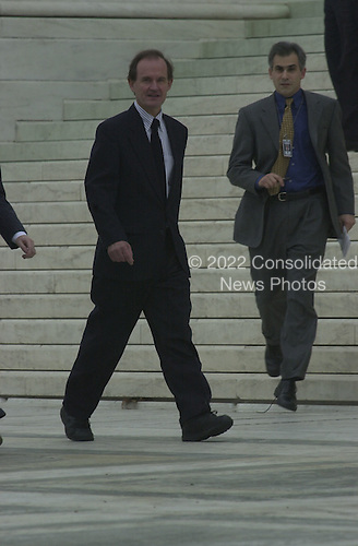 Attorney David Boies, counsel for the Democratic Party nominee for President of the United States, US Vice President Al Gore, walks to the microphones after pleading before the United States Supreme Court in Washington, DC on the Florida Vote Recount case on December 11, 2000.<br /> Credit: Ron Sachs - CNP