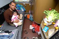 Idomeni / Greece 04042016<br /> Family of sirian refugees living on board abandoned train in Idomeni railway station.<br /> Photo Livio Senigalliesi
