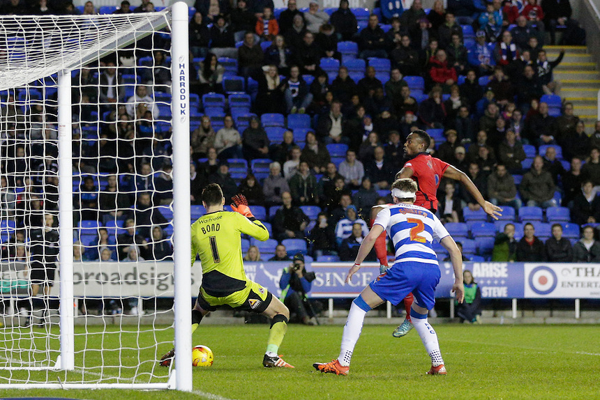 Blackburn Rovers' Bengadli-Fode Koita has a late shot on target but sees his shot saved by Reading's Jonathan Bond<br /> <br /> Photographer Craig Mercer/CameraSport<br /> <br /> Football - The Football League Sky Bet Championship - Reading v Blackburn Rovers - Sunday 20th December 2015 - Madejski stadium - Reading<br /> <br /> &copy; CameraSport - 43 Linden Ave. Countesthorpe. Leicester. England. LE8 5PG - Tel: +44 (0) 116 277 4147 - admin@camerasport.com - www.camerasport.com