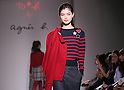 """April 7, 2016, Tokyo, Japan - A model displays creation of French brand """"agnes b."""" during 2016-2017 fall and winter collection in Tokyo on Thursday, April 7, 2016.  (Photo by Yoshio Tsunoda/AFLO) LWX -ytd"""