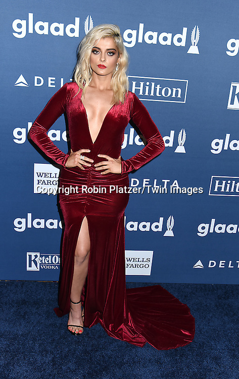 Bebe Rexha attends the 27th Annual GLAAD Media Awards on May 14, 2016 at the Waldorf Astoria Hotel in New York City, New York, USA.<br /> <br /> photo by Robin Platzer/Twin Images<br />  <br /> phone number 212-935-0770