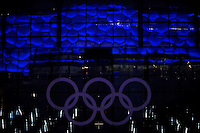 Aug. 6, 2008; Beijing, CHINA; The National Aquatics Center reflects in the windows of the National Indoor Stadium. The Olympics begin at 8pm on August 8, 2008. Mandatory Credit: Mark J. Rebilas-