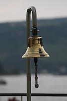 General view of the ship's bell on the K-D Line ship Asbach on the River Rhein, Germany.<br /> <br /> Gesamtansicht von der Schiffsglocke auf dem KD Linienschiff Asbach auf dem Fluss Rhein, Deutschland.