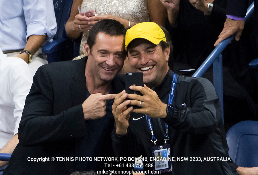 BEN STILLER, HUGH JACKMAN, CELEBRITY<br /> <br /> TENNIS - THE US OPEN - FLUSHING MEADOWS - NEW YORK - ATP - WTA - ITF - GRAND SLAM - OPEN - NEW YORK - USA - 2016  <br /> <br /> <br /> <br /> &copy; TENNIS PHOTO NETWORK