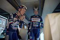 Winner of the Amstel Gold Race just a few days earlier, Enrico Gasparotto (ITA/Wanty-Groupe Gobert) prepares for the race in the teambus<br /> <br /> Fl&egrave;che Wallonne 2016