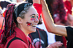 KANSAS CITY, MO - DECEMBER 02: University of Central Missouri fans smile after Jada Scott (28) scored to send the game into overtime in the Division II Women's Soccer Championship held at the Swope Soccer Village on December 2, 2017 in Kansas City, Missouri. (Photo by Doug Stroud/NCAA Photos/NCAA Photos via Getty Images)