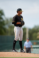Pittsburgh Pirates pitcher Noe Toribio (50) looks in for the sign during a Florida Instructional League game against the Baltimore Orioles on September 22, 2018 at Ed Smith Stadium in Sarasota, Florida.  (Mike Janes/Four Seam Images)
