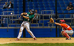WATERBURY, CT-071520JS30—Simsbury SaberCats' Jeremy Zarwanski (14) rips a two-RBI single during their summer college league game against the Brass City Bombers Wednesday at Municipal Stadium in Waterbury. <br /> Jim Shannon Republican-American