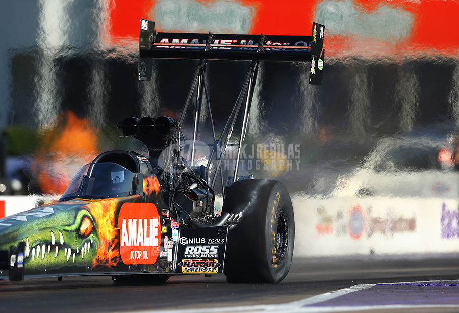 Apr 21, 2017; Baytown, TX, USA; NHRA top fuel driver Terry McMillen during qualifying for the Springnationals at Royal Purple Raceway. Mandatory Credit: Mark J. Rebilas-USA TODAY Sports