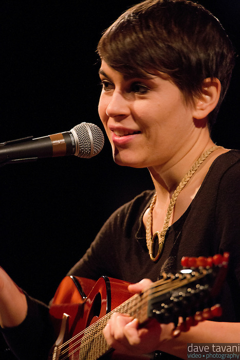 "Kaki King explains the origin of the song ""King Pizel"" during her performance at World Cafe Live with a Griffin, a twelve-string guitar she describes as ""high-strung, way above a normal guitar tuning."""