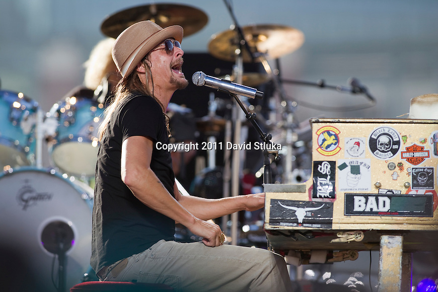 Recording Artist Kid Rock performs outside Lambeau Field prior to the Green Bay Packers NFL Week 1 football game against the New Orleans Saints on September 9, 2011 in Green Bay, Wisconsin. AP Photo/David Stluka)