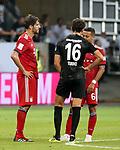 12.08.2018, Commerzbank - Arena, Frankfurt, GER, Supercup, Eintracht Frankfurt vs FC Bayern M&uuml;nchen , <br />DFL REGULATIONS PROHIBIT ANY USE OF PHOTOGRAPHS AS IMAGE SEQUENCES AND/OR QUASI-VIDEO.<br />im Bild<br />Javi Mart&iacute;nez (M&uuml;nchen), Lucas Torro (Frankfurt), Thiago Alc&aacute;ntara (M&uuml;nchen)<br /> <br /> Foto &copy; nordphoto / Bratic