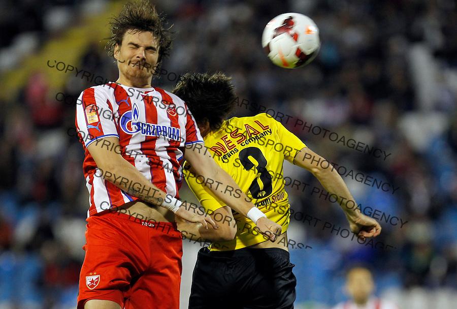 Fudbal Super liga season 2013-2014<br /> Crvena Zvezda v Novi Pazar<br /> Nejc Pecnik (L) and Rados Protic<br /> Beograd, 19.10.2013.<br /> foto: Srdjan Stevanovic/Starsportphoto &copy;