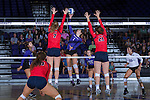 Jordan Hefner (1) of the High Point Panthers attacks the ball during the match against the Liberty Flames at the Millis Athletic Center on September 23, 2016 in High Point, North Carolina.  The Panthers defeated the Flames 3-1.   (Brian Westerholt/Sports On Film)