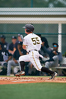GCL Pirates second baseman Matt Morrow (55) follows through on a swing during the second game of a doubleheader against the GCL Yankees East on July 31, 2018 at Pirate City Complex in Bradenton, Florida.  GCL Pirates defeated GCL Yankees East 12-4.  (Mike Janes/Four Seam Images)