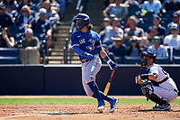 Toronto Blue Jays Bo Bichette (11) bats during a Spring Training game against the New York Yankees on February 22, 2020 at the George M. Steinbrenner Field in Tampa, Florida.  (Mike Janes/Four Seam Images)