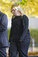 "Pictured: Gemma Evans arrives at Merthyr Crown Court. Wedensday 03 October 2018<br /> Re: A young woman driver was sending ""cheeky monkey"" emoji messages on her mobile when she killed an innocent motorist, a court heard.<br /> Gemma Evans, 23, is accused of using Facebook and Whatsup while driving at up to 50mph in the dark.<br /> A jury heard she was ""grossly distracted"" causing her black Mini to veer into the path of much-loved grandmother Diane Price, 58.<br /> Police seized Evans's mobile phone and found a series of messages which the prosecution claim she sent while driving.<br /> Evans claims she put her mobile in the car's cup holder on the morning of the accident and didn't use it during her journey to work.<br /> But police reconstructed the accident using information from a roadside camera which clocked the young driver as she went past.<br /> Merthyr Tydfil Crown Court heard it provided conclusive evidence that she was sending messages while at the wheel."