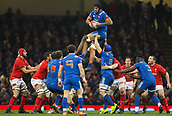 t17th March 2018, Principality Stadium, Cardiff, Wales; NatWest Six Nations rugby, Wales versus France; Sebastien Vahaamahina of France takes the line out ball