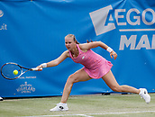 June 16th 2017, The Northern Lawn tennis Club, Manchester, England; ITF Womens tennis tournament; Number five seed Anna Blinkova (RUS) in action during her quarter final singles match against number four seed Aryna Sabalenka (BLR)