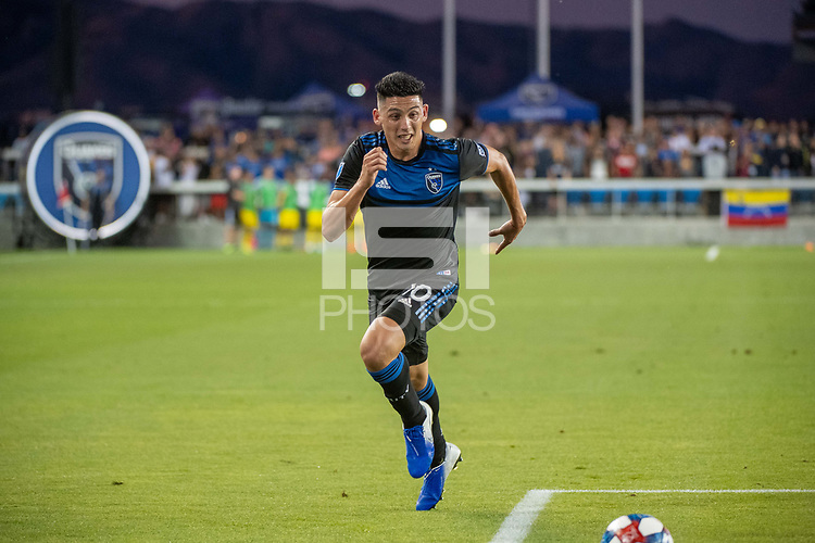 San Jose, CA - Saturday August 03, 2019: Cristian Espinoza #10 in a Major League Soccer (MLS) match between the San Jose Earthquakes and the Columbus Crew at Avaya Stadium.