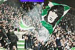 Solna 2015-03-07 Fotboll Allsvenskan AIK - Hammarby IF :  <br /> Hammarbys supportrar med flaggor under matchen mellan AIK och Hammarby IF <br /> (Foto: Kenta J&ouml;nsson) Nyckelord:  AIK Gnaget Friends Arena Svenska Cupen Cup Derby Hammarby HIF Bajen supporter fans publik supporters jubel gl&auml;dje lycka glad happy
