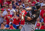 28 September 2014: Miami Marlins catcher Jarrod Saltalamacchia pinch hitting in the 9th inning against the Washington Nationals for the last game of the regular season at Nationals Park in Washington, DC. The Nationals shut out the Marlins with a 1-0 no-hitter going to Nationals pitcher Jordan Zimmermann. Mandatory Credit: Ed Wolfstein Photo *** RAW (NEF) Image File Available ***