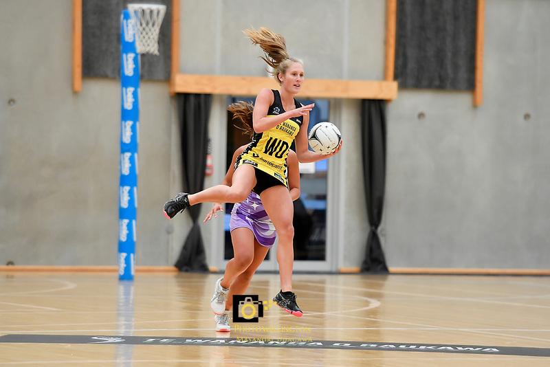 Pulse&rsquo; Maddy Gordon in action during the Netball Pre Season Tournament - Pulse v Stars at Ngā Purapura, Otaki, New Zealand on Saturday 9 February  2019. <br /> Photo by Masanori Udagawa. <br /> www.photowellington.photoshelter.com