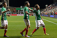 Bridgeview, IL, USA - Tuesday, October 11, 2016: Mexico forward Oribe Peralta (19) celebrates his goal with Mexico forward Giovani dos Santos (10) who assisted on the goal during an international friendly soccer match between Mexico and Panama at Toyota Park. Mexico won 1-0.