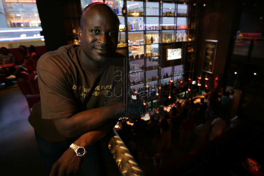 Ryan Stewart, a former Detroit Lions player and co-host of 790 The Zone's &quot;2 Live Stews,&quot; at one of his favorite Atlanta nightspots--Strip Steaks and Sushi at Atlantic Station.<br />
