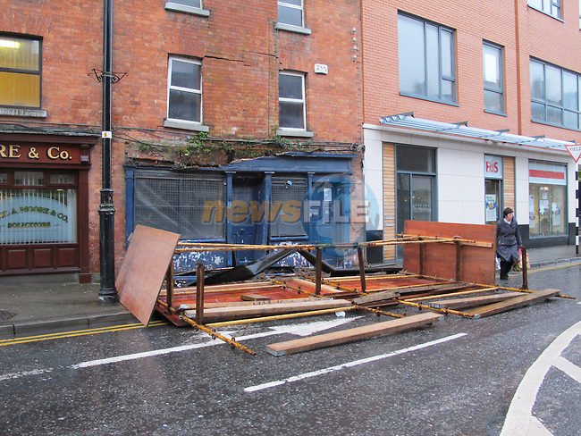 Wind damage to building on Dyer street next to Paul Moore Solicators..Picture: Thos Caffrey/ www.newsfile.ie.