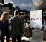 Sunnamusk perfume shop window poster for Eid sale in Whitechapel, London,England