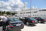 15.08.2014., Pula, Croatia - Saudi prince Khaled bin Sultan is departing from a luxury yacht Golden Odyssey. The prince and his wife, daughter and the pilot of the private plane left in the unknown direction in the three hired mercedes cars. <br /> <br /> Foto &copy;  nph / PIXSELL / Dusko Marusic