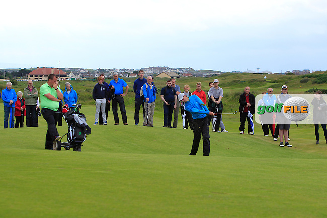 Tiernan McLarnon (Massereene) on the 12th fairway during the Final of the North of Ireland Amateur Open Championship sponsored by Cathedral Eye Clinic at Portrush Golf Club, Portrush on Friday 15th July 2016.<br /> Picture:  Thos Caffrey / www.golffile.ie