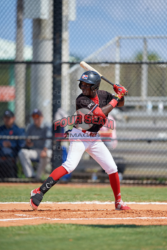 Daniel Gomez (3) during the Dominican Prospect League Elite Florida Event at Pompano Beach Baseball Park on October 15, 2019 in Pompano beach, Florida.  (Mike Janes/Four Seam Images)
