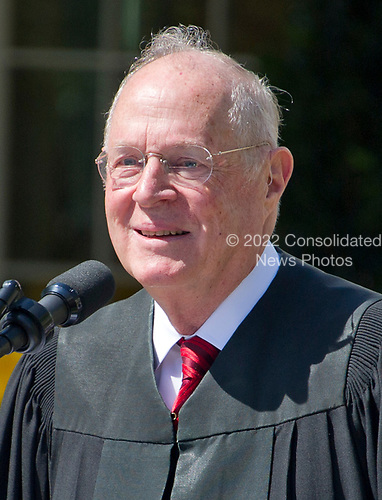 Associate Justice of the United States Supreme Court Anthony Kennedy makes remarks prior to administering the Oath of Office to new Associate Justice Neil Gorsuch in the Rose Garden of the White House in Washington, DC on Monday, April 10, 2017.<br /> Credit: Ron Sachs / CNP<br /> (RESTRICTION: NO New York or New Jersey Newspapers or newspapers within a 75 mile radius of New York City)