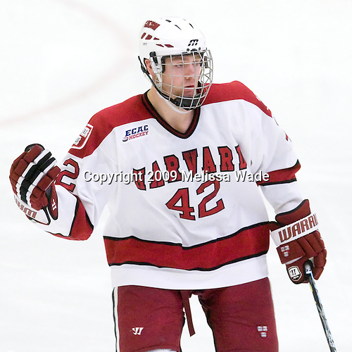 Brendan Rempel (Harvard - 42) - The Boston University Terriers defeated the Harvard University Crimson 6-5 in overtime on Tuesday, November 24, 2009, at Bright Hockey Center in Cambridge, Massachusetts.