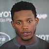 Darron Lee #50, New York Jets rookie linebacker, speaks with the media after practice at Atlantic Health Jets Training Center in Florham Park, NJ on Wednesday, Aug. 17, 2016.
