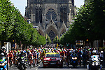 The start under Reims Cathedral of Stage 4 of the 2019 Tour de France running 213.5km from Reims to Nancy, France. 9th July 2019.<br /> Picture: ASO/Pauline Ballet | Cyclefile<br /> All photos usage must carry mandatory copyright credit (© Cyclefile | ASO/Pauline Ballet)