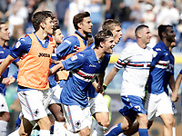 Calcio, Serie A: Genova, Stadio Luigi Ferraris, 24 settembre 2017. <br /> Sampdoria's players celebrates after winning 2-0 the Italian Serie A football match between Sampdoria and Milan at Genova's Luigi Ferraris stadium. September 24, 2017.<br /> UPDATE IMAGES PRESS/Isabella Bonotto