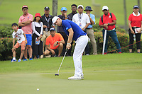 Bernd Wiesberger (Europe) on the 17th green during the Singles Matches of the Eurasia Cup at Glenmarie Golf and Country Club on the Sunday 14th January 2018.<br /> Picture:  Thos Caffrey / www.golffile.ie