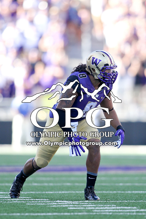 Sept 20, 2014:  Washington's Hau'oli Kikaha against Georgia State.  Washington defeated Georgia State 45-14 at Husky Stadium in Seattle, WA.