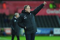 Steve Cooper Head Coach of Swansea City shouts instructions to his team from the dug-out during the Sky Bet Championship match between Swansea City and Charlton Athletic at the Liberty Stadium in Swansea, Wales, UK.  Thursday 02 January 2020
