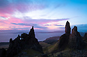 The Old Man of Storr at dawn, Trotternish, Isle of Skye, Scotland. March.